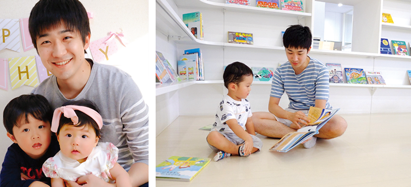 Male employee taking childcare leave (left); Onleave caring for children (right)