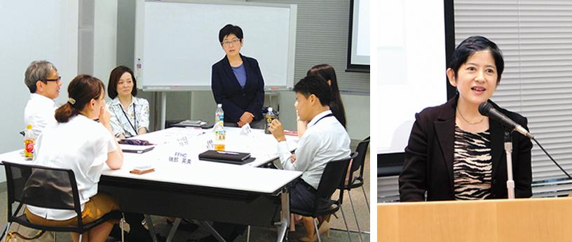 仕事と育児の両立支援セミナーで意見交換する産休・育休からの復職者と上長(左)、女性健康セミナーでメッセージを発信した人事担当役員(右)