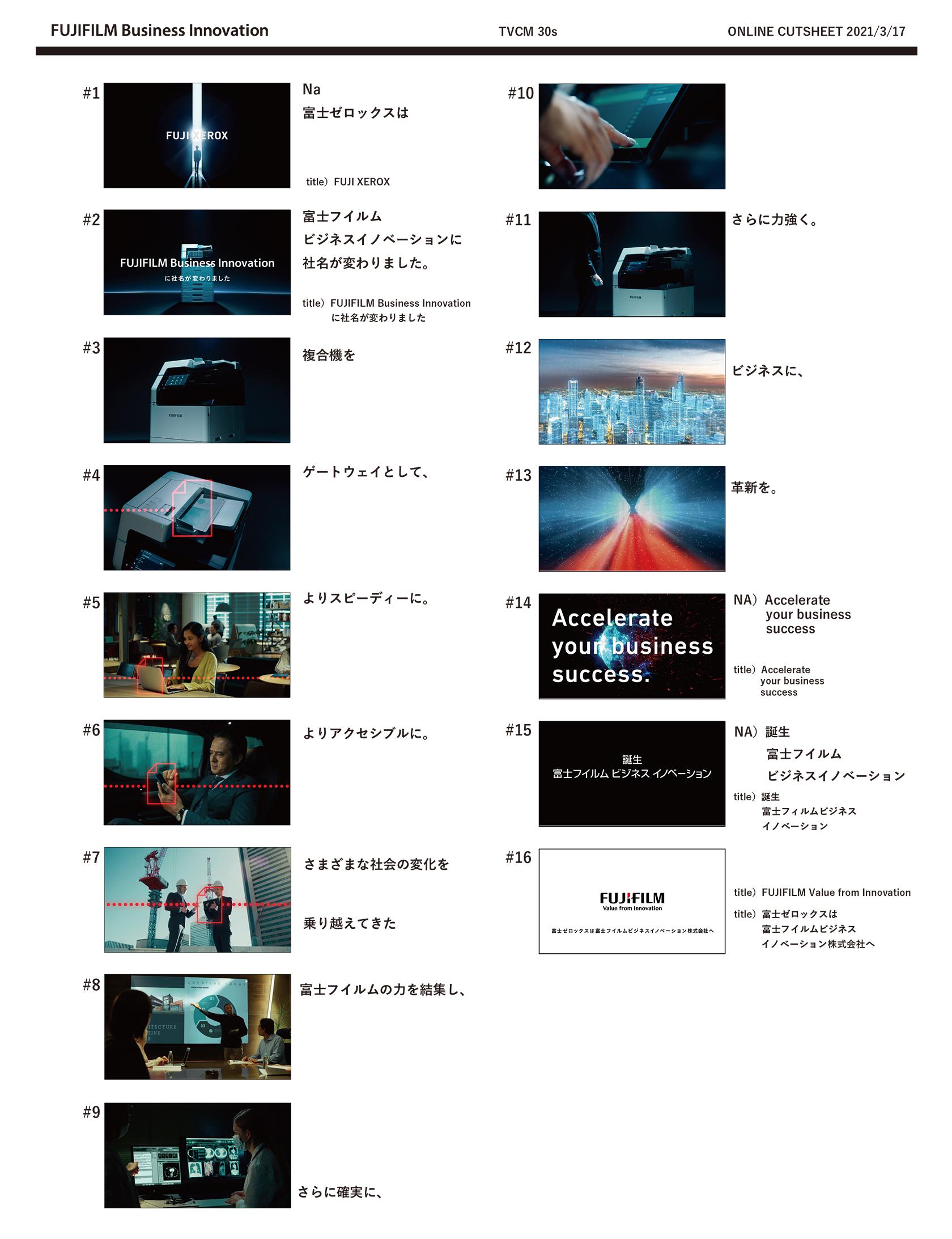 【ストーリーボード】 「富士フイルムビジネスイノベーション:誕生篇 30秒」