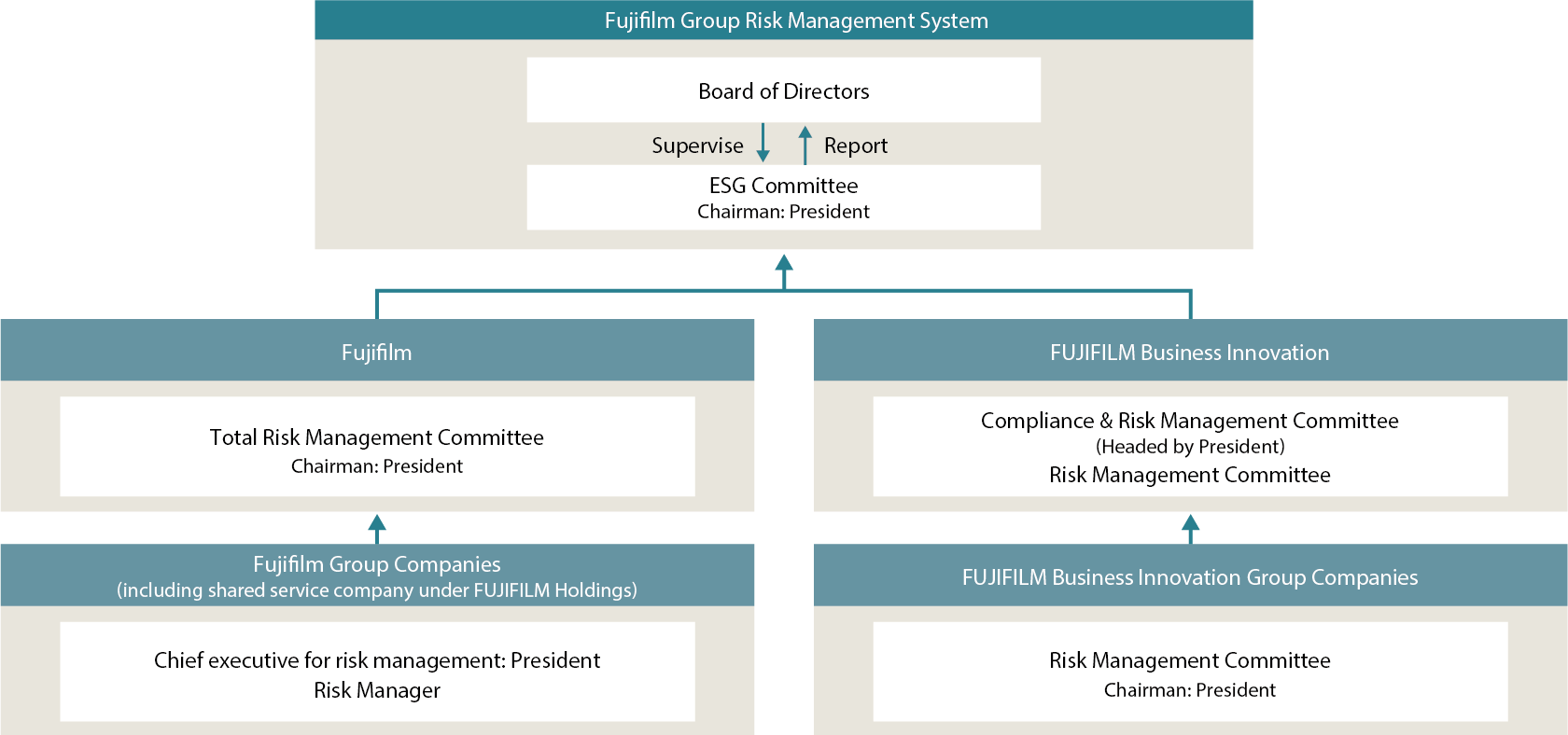 Fujifilm Group Compliance and Risk Management Promotion Structure
