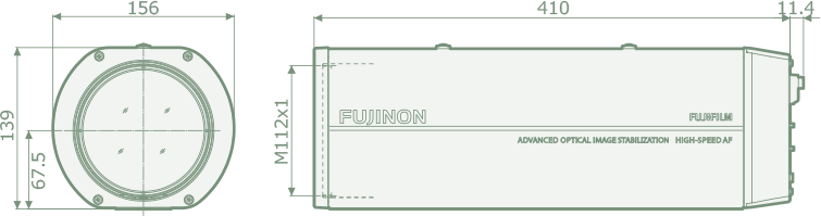 [photo] Schematic of SX 800 dimensions on side and front of camera