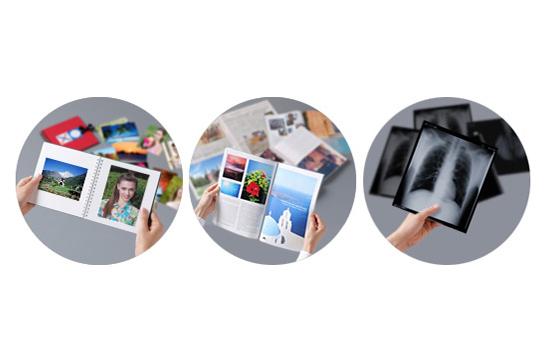 [photo] 3 imágenes circulares que muestran a alguien sosteniendo un álbum, un libro y una radiografía de tórax