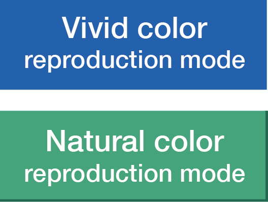 Vivid colour reproduction mode / Natural colour reproduction mode