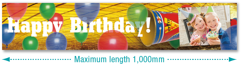 [image] Happy Birthday banner with blue, green, and red balloons, of 1,000mm length