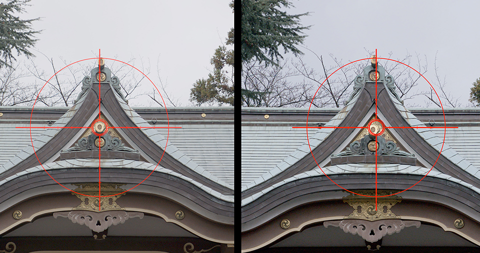 [photo] Side by Side comparison of a suppressed optical axis shifts