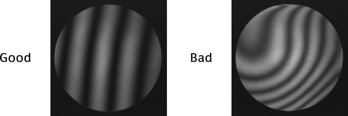 [image] Good versus bad slide examples of interference fringes under interferometer