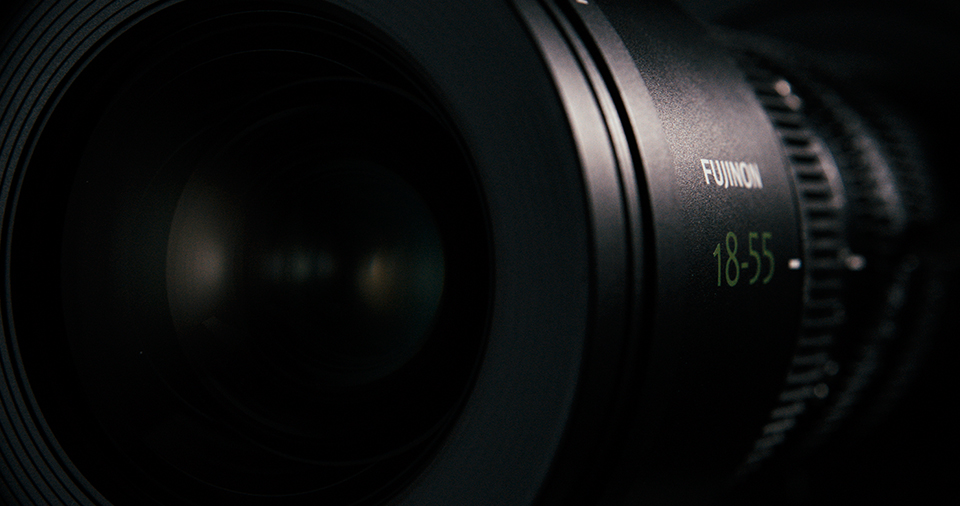 [photo] A front side view of an MK Series lens with Fujinon 18-55mm etched on the side