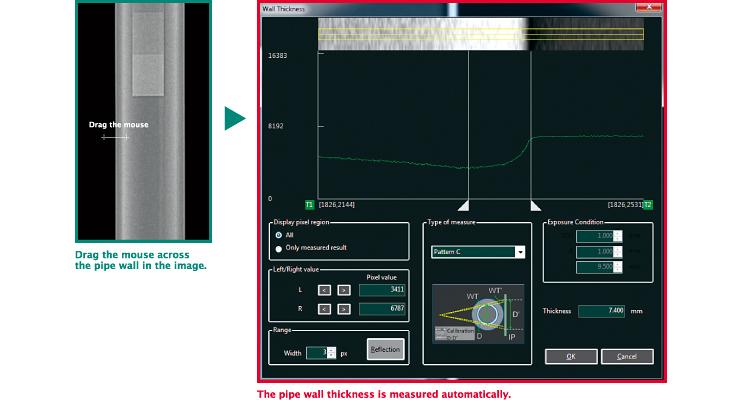 [afbeelding] Instructies over het gebruik van de software om de wanddikte te meten met overeenkomstige software-screenshots