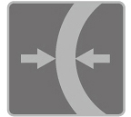[afbeelding] Een pijl naar links en een pijl naar rechts die naar elkaar toe wijzen, gescheiden door een dikke, halfronde muur