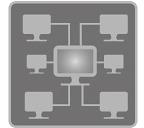 [afbeelding] Een computernetwerk bestaande uit 6 computers die verbinding maken met een hoofdserver