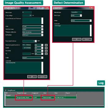 [afbeelding] Softwarescreenshots van het Logboek-paneel die de schermen voor de beoordeling van de beeldkwaliteit en de bepaling van het defect in het rood markeren