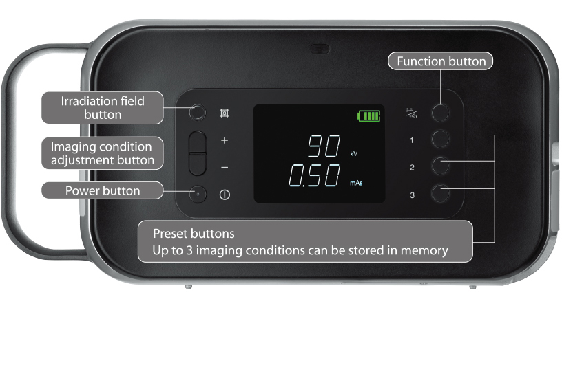 [foto] Knopindeling van het FD Xair-apparaat, inclusief aan/uit-knop, knop voor aanpassing van de belichtingsparameters, knop voor het stralingsveld, functieknop en voorkeuzeknoppen