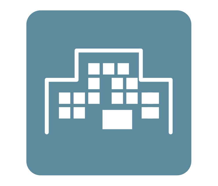 [afbeelding] Digitale witte contourschets van een kantoorgebouw tegen een blauwgroene achtergrond
