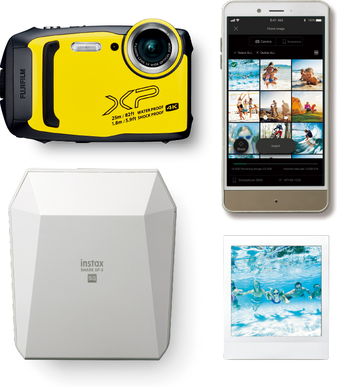 [photo] Fujifilm Finepix yellow, an iPhone, fujifilm SP-3 printer and a polariod picture on a white background