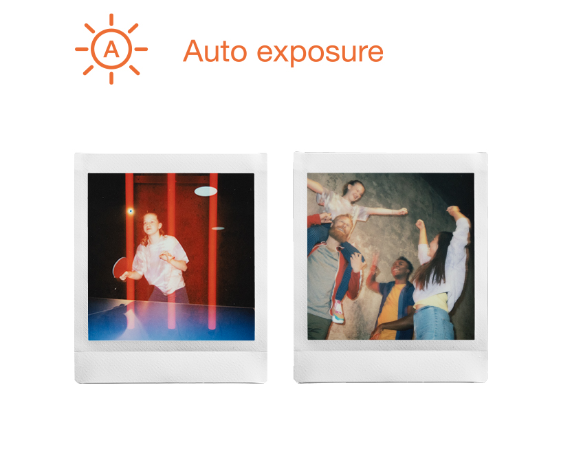 [photo] 2 INSTAX Square film photo prints in Auto Exposure mode - young girl playing ping pong and friends cheering