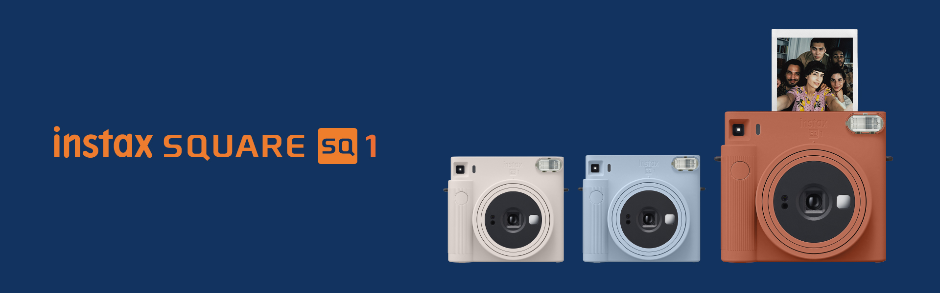 [image] 3 INSTAX Square SQ1 cameras next to each other, in Chalk White, Terracotta Orange, and Glacier Blue colors