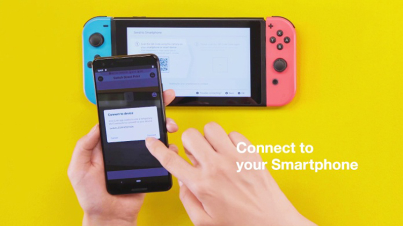 """[image](4) Press the """"Switch Direct Print"""" button to scan the QR code and connect the Nintendo Switch with the smartphone."""
