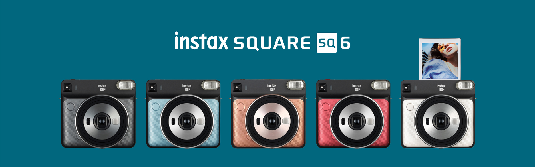 [photo] Instax SQUARE SQ6 in Graphite Black, Aqua Blue, Blush Gold, Ruby Red and Pearl White with a title on a green background