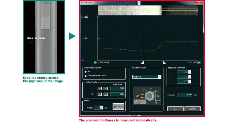 Drag the mouse across the pipe wall in the image. The pipe wall thickness is measured automatically.