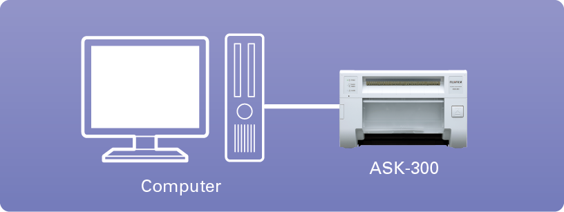Diagram showing computer connecting to ASK 300 printer