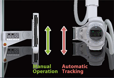 [photo] Side by side Motorized Vertical  Synchronization with wall stand with 2 sided up and down arrows beside the manual operation and the automatic tracking text
