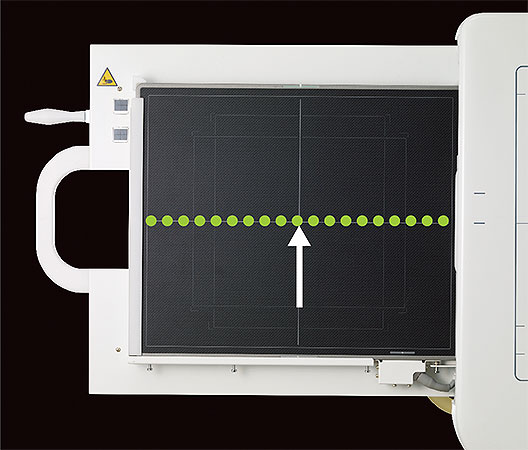 [photo] FDR Smart X DR Panel with an up white arrow touching the green dotted line in the center of the panel