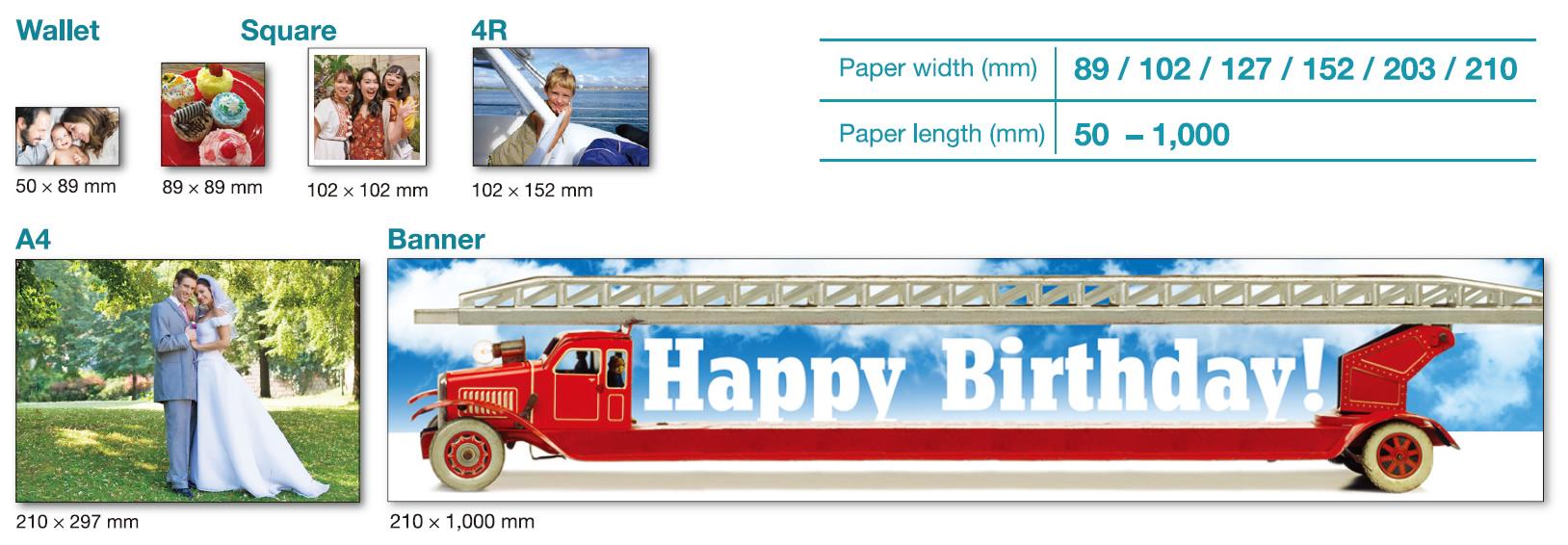 [imagem] Comparação entre a variedade de tamanhos de impressão de papel e foto, oferecida com a Frontier DE100