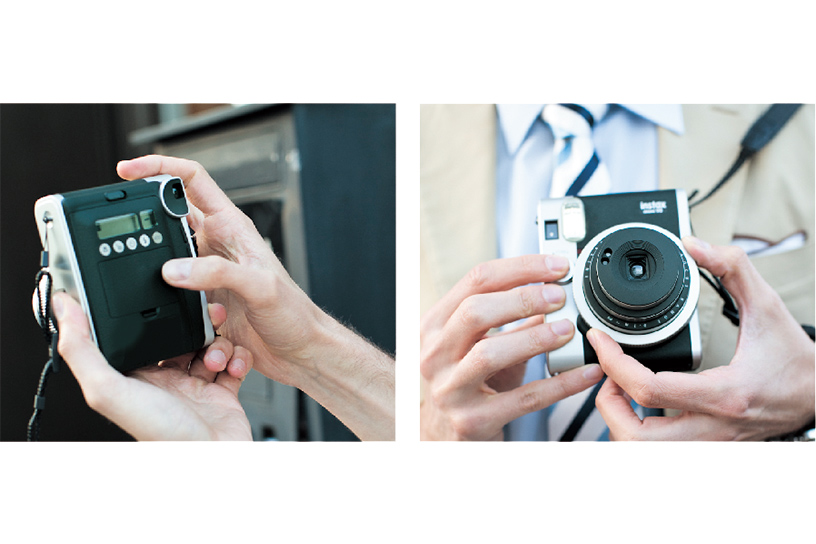 Two photos of front and back of Mini 90 with someone holding it handheld