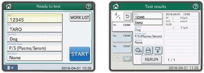[foto] Tela de operação com nome/ID e resultados de teste rotulados