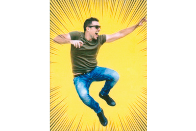 Focused filter picture of young male jumping over a yellow background