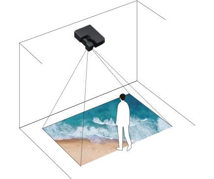 [imagem] Projetor preso ao teto, projetando imagem de ondas do oceano e areia no chão sem sombra sobre a imagem