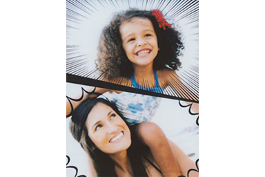Comic filter picture of little girl and young woman separated by black line