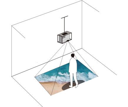 [imagem] Projetor suspenso no teto, com lente voltada para baixo, projetando imagem de ondas do oceano e areia no chão e pessoa projetando sombra sobre imagem