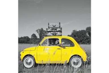 Imagem de um carro amarelo com filtro Parcial Amarelo aplicado onde tudo, exceto o carro, é preto e branco