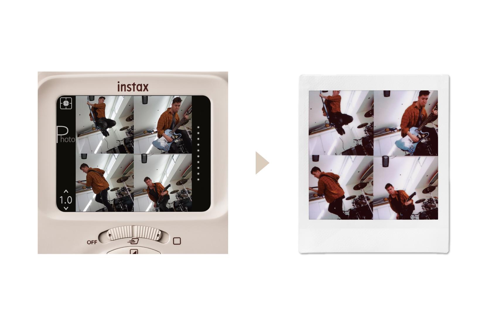 Imagens da tela na parte de trás da SQ20 mostram quatro imagens ao mesmo tempo de homem pulando e tocando violão e as mesmas quatro imagens pintadas no filme