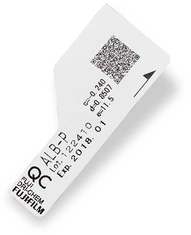 [foto] Cartão QC com código QR e detalhes rotulados no cartão para o sistema FUJI DRI-CHEM