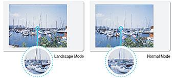 duas imagens mostrando o modo normal e paisagem