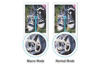 imagem de tênis mostrando os modos normal e macro