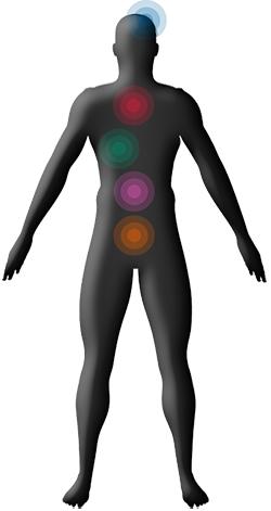 [imagem] Silhueta de homem com pontos coloridos na cabeça e ao longo do tronco