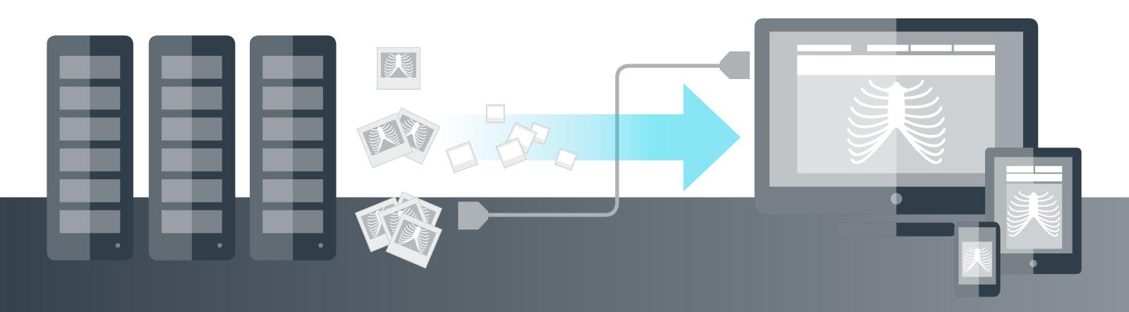 [imagem] Servidores conectados a computadores e dispositivos móveis, enviando dados por conexão