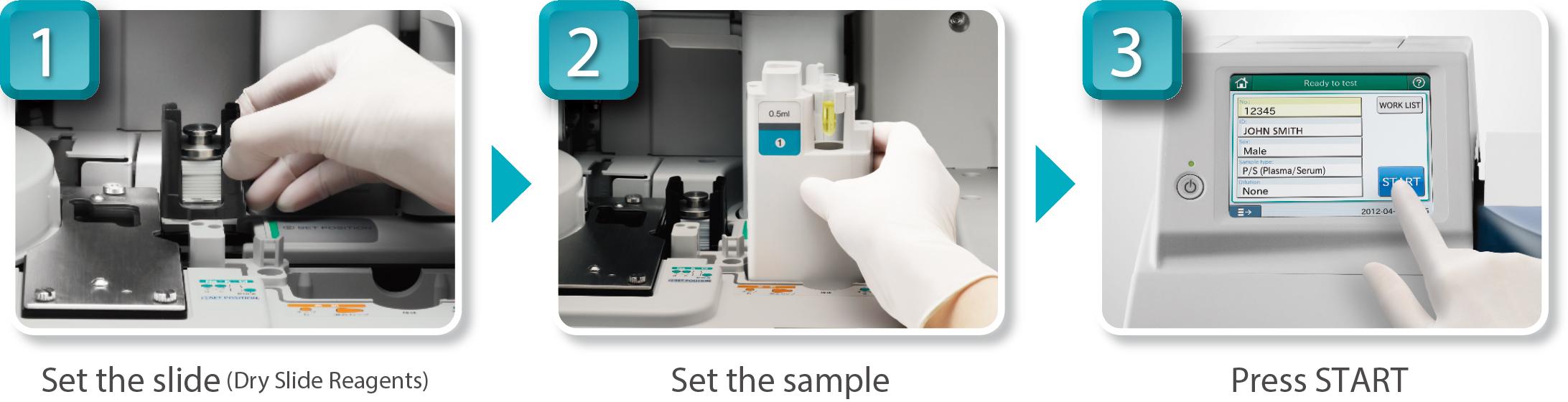 [foto] Mão com luva posicionando a lâmina e a amostra dentro da máquina e pressionando o botão start (iniciar)