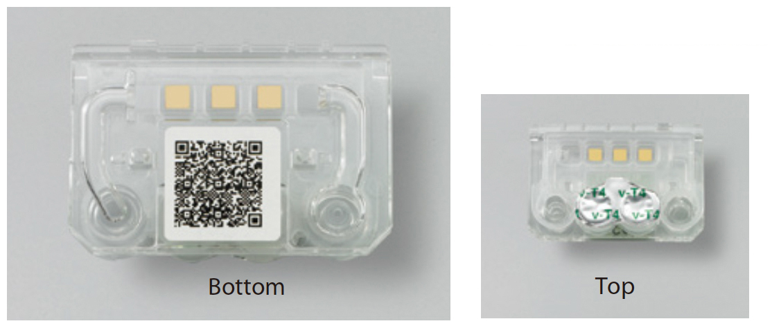 [photo] Bottom of cartridge with QR code and top of cartridge
