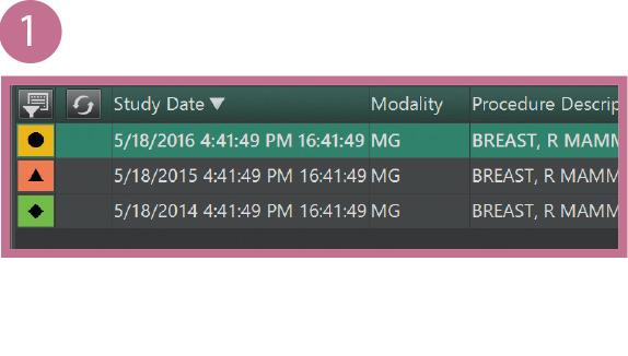 [imagem] Visualização em close-up das capturas de tela do software com resultados de vários exames de um paciente exibidas em uma lista