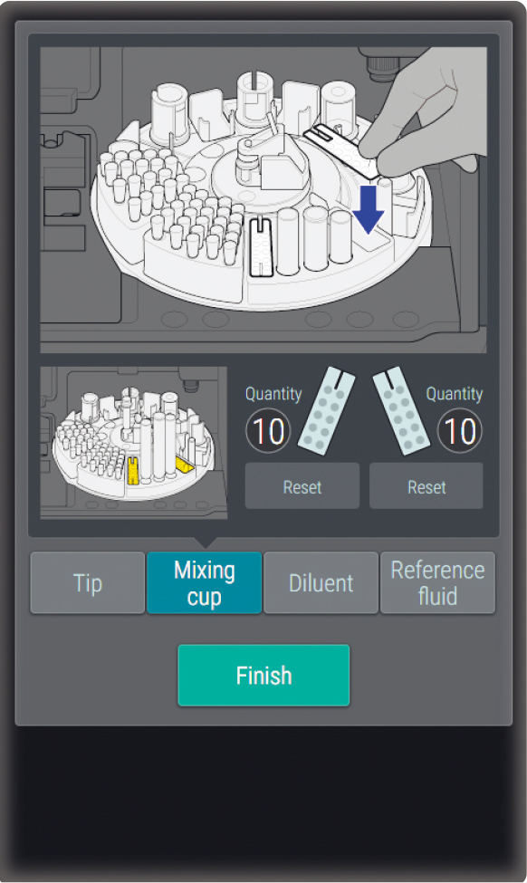 [image] Hand placing test strip/sample on internal tray inside incubator