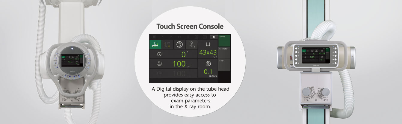 "[photo] Tube head LCD display screenshot with ""A digital display on the tube head provides easy access to exam parameters in the X-ray room"" text on a FDR Smart X X-ray system background"