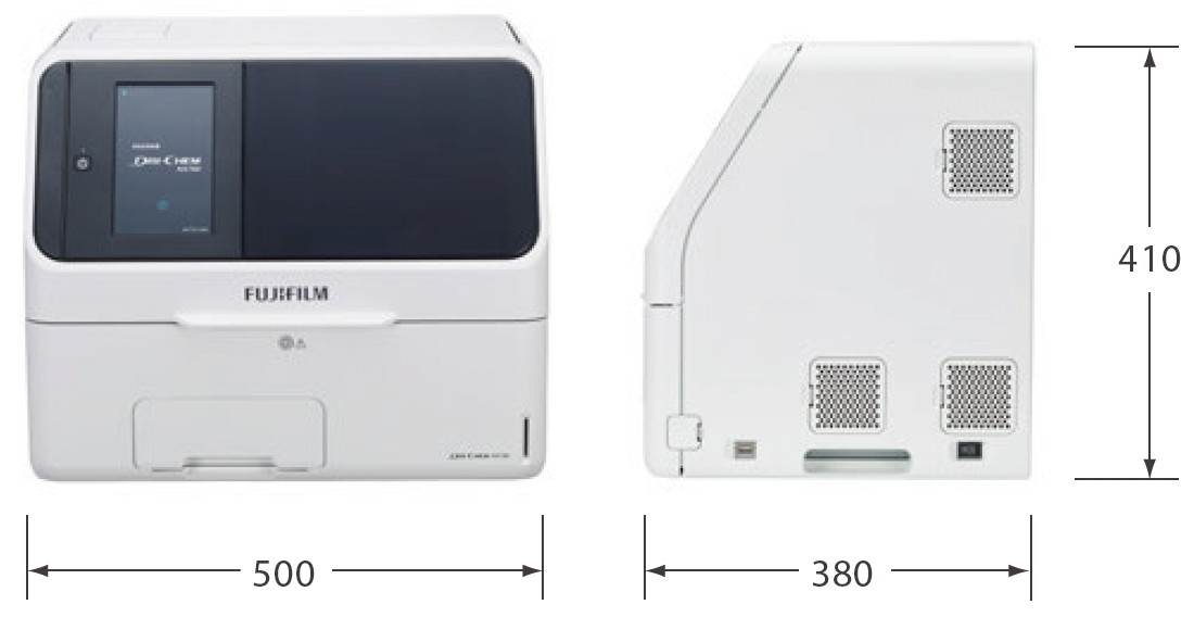[photo] DRI-CHEM NX700V front and side view with dimensions