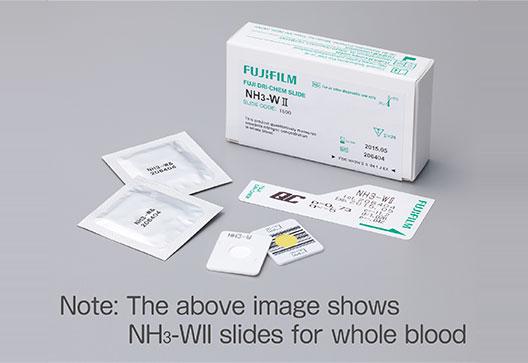 [foto] Caixa de lâminas NH3 com uma observação: A imagem acima mostra lâminas NH3 para sangue total