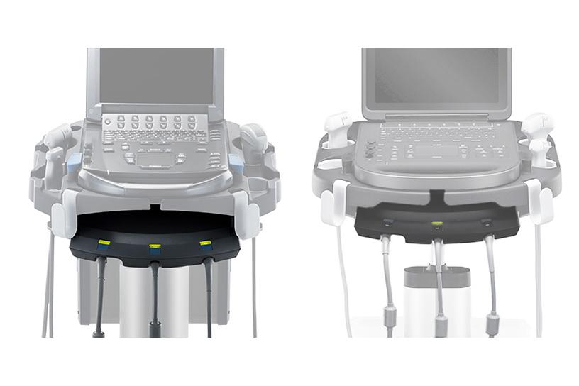 [foto] Transdutor com conector triplo conectado ao Edge Stand e SonoSite Edge II