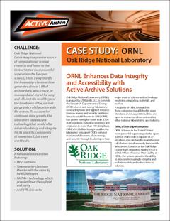 O ORNL aprimora a integridade e a acessibilidade dos dados com soluções de arquivo ativo