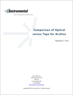 Comparação do Sistema óptico versus Fita para arquivamento
